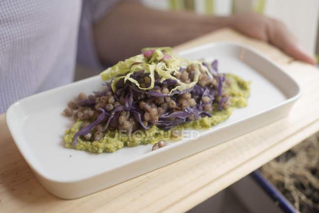 Buchweizen mit verschiedenen in Scheiben geschnittenen Kohlsorten auf Teller mit Sauce. — Stockfoto