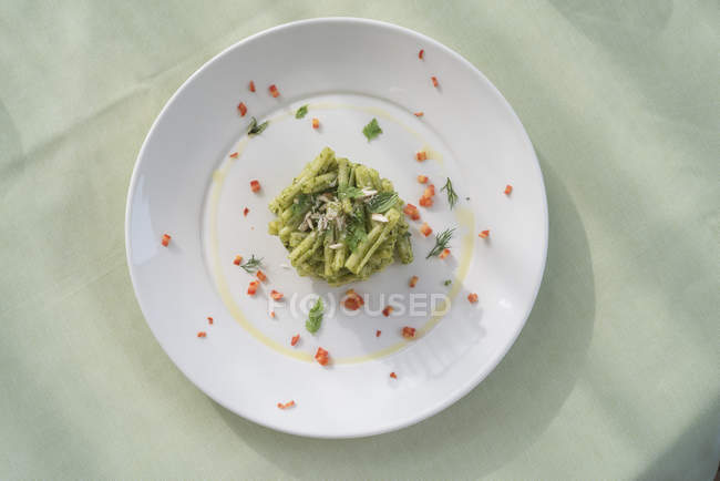 Strozzapreti pasta with celery pesto and aromatic herbs, top view. — Stock Photo