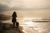 Rear view of woman walking with dog outdoors by the seashore at golden sunset — Stock Photo