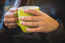 Female hands holding cup of tea — Stock Photo