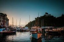 Marina view with yachts by sea bay — Stock Photo