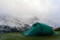 Краєвид на гори і зелені подорожі, як правило, у лузі — стокове фото