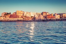 View on Chania city buildings, Greece, Venetian port of Chania — Stock Photo