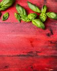 Green basil leaves on red wooden surface — Stock Photo