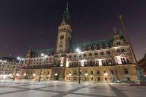 Lightened square near Hamburg city hall — Stock Photo