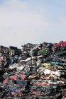 Daytime view of piled smashed cars in car dump — Stock Photo