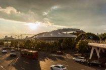 Bridge architecture, stadium and city road in jiangsu China — Stock Photo