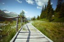 Passerelle vide avec paysage à horizon — Photo de stock