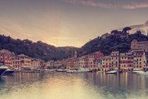 Daytime view of Portofino city shore with boats — Stock Photo