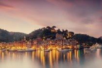 Scenic view of old coastal Portofino town illuminated at sunset, Italy — Stock Photo