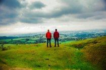 Двоє чоловіків стоячи на зеленій траві луг і дивлячись на мальовничий краєвид — стокове фото