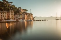 Scenic view of coastal town in calm sunset light, Portofino, Italy — Stock Photo