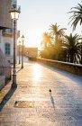 Lanterns view on sunset street of Apulia — Stock Photo