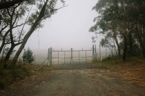 Old empty road with closed gates to the private area in mist — Stock Photo