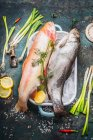 Fish on ice with herbs and spices — Stock Photo