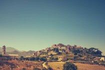 Old mountain village evening cityscape, Corsica, France — Stock Photo