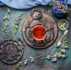 Cup of tea on stand — Stock Photo