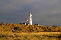 Мальовничим видом маяк на пагорбі трав'янисті — стокове фото