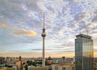 Television tower in Berlin city, sunset sky — Stock Photo