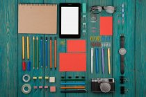 Office supplies and electronic book — Stock Photo