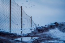 Net fence and reflection in puddle — Stock Photo