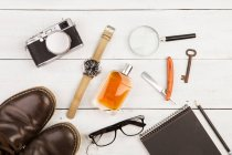 Flat lay with masculine accessories — Stock Photo