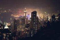 Cityscape освітленій Гонконгу — стокове фото