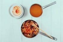 Chilli bean stew on white surface — Stock Photo