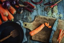 Cut carrots with herbs and spices — Stock Photo