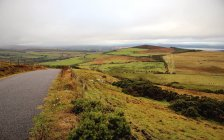 Landscape with road through fields under cloudy sky, Ireland — Stock Photo