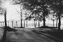 Black and white photo of city park with river bank — Stock Photo