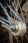 Cropped image of bicycle wheel details — Stock Photo