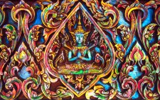 Close up of colorful Thai Buddhist in illustration — Stock Photo