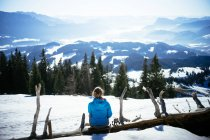 Back view of woman sitting on log in snowy mountains field — Stock Photo