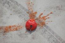 Smashed tomato on asphalt — Stock Photo