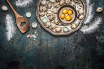 Перепелині яйця з жовтки і пір'я — стокове фото
