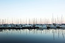 Scenic sunset view at seaside with boats in marina — Stock Photo