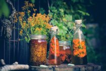 Glass bottles and jars with herbal tinctures — Stock Photo