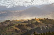 Evening light in spring carpathian mountains — Stock Photo