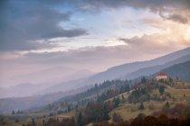 November foggy morning in mountains — Stock Photo