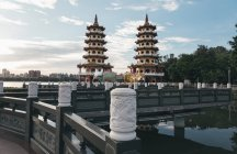 Taiwan architecture buildings and bridge, pagoda tiered towers with multiple eaves — Stock Photo