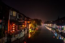 Traditional fishing village in Xitang at night — Stock Photo