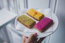 Vista della piastra con i panini con verdure varie paste — Foto stock