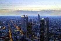 Beautiful aerial view of frankfurt city at eveningtime, germany — Stock Photo