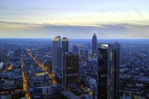 Beautiful aerial view of frankfurt city at eveningtime, germany — Stock Photo