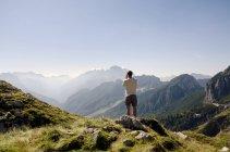 Man in mountains at Triglav National Park,  Slovenia — Stock Photo