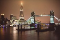 London at night Tower Bridge and Shard — Stock Photo
