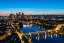 Frankfurt city buildings at evening — Stock Photo