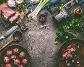 Erhöhte Ansicht von frischen Lebensmitteln — Stockfoto