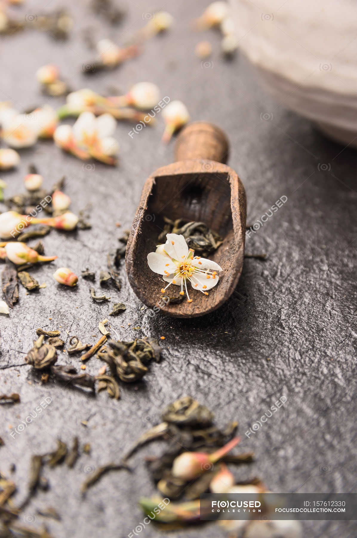 Dry Tea With Jasmine Flowers In Shovel Stock Photo 157612330